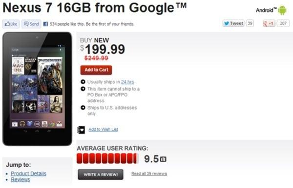 Tabletowo.pl Cena Nexus 7 16GB obniżona do 199 dolarów Nowości Plotki / Przecieki
