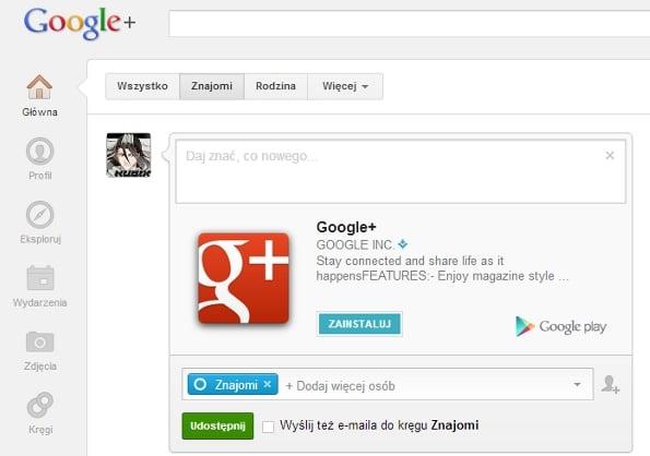 Tabletowo.pl Nowa funkcja dzielenia się aplikacjami w Google+ Nowości