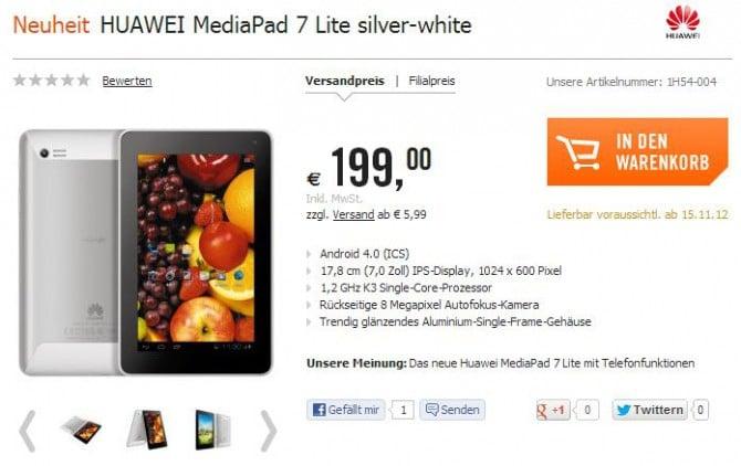 Tabletowo.pl Huawei MediaPad 7 Lite w sprzedaży od 15 listopada - taniej niż zapowiadano Nowości