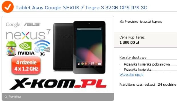 Nexus 7 3G 32GB w Polsce za 1399 złotych?
