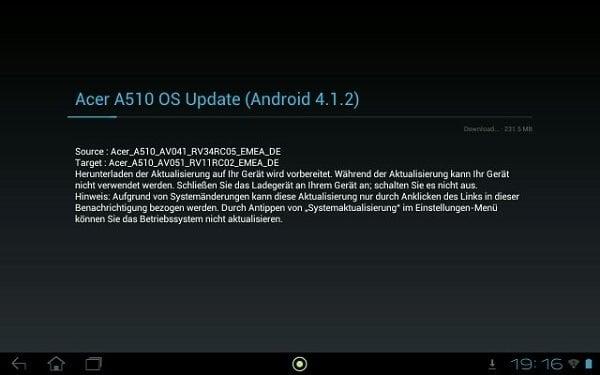 Tabletowo.pl Acer zaczyna aktualizować Iconia Tab A510 do Androida 4.1 Acer Nowości