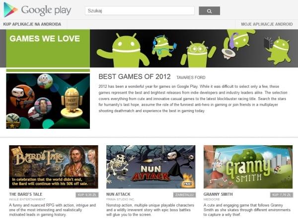 najlepsze gry android 2012