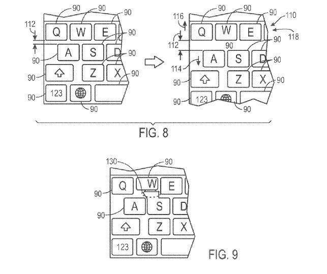 Tabletowo.pl Apple pracuje nad zmiennokształtną klawiaturą ekranową Apple Ciekawostki