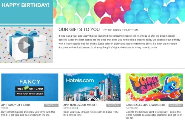 Google świętuje pierwszą rocznicę rebrandingu Android Market na Google Play