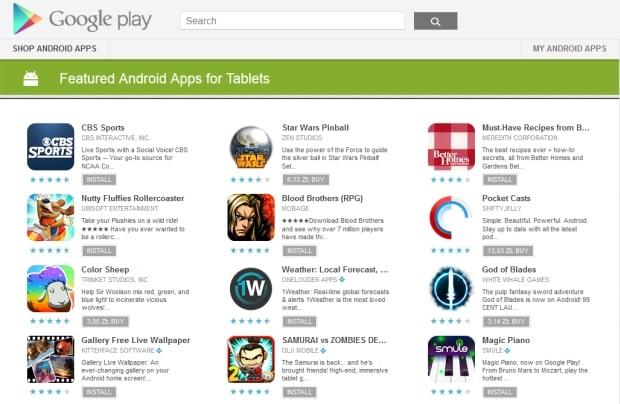 """""""Polecane aplikacje na Androida na tablety"""" w Google Play"""