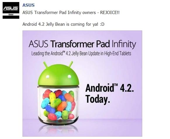 Tabletowo.pl Android 4.2 dla Asusa Transformer Pad Infinity tuż za rogiem Asus Nowości