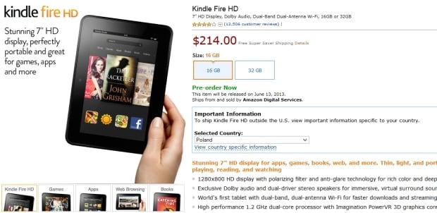 Kindle Fire HD 7 i 8.9 z wysyłką do Polski