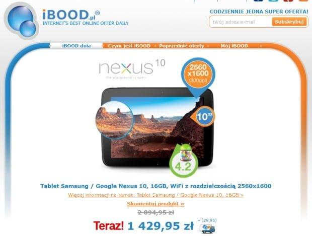 Promocja: Nexus 10 na iBood za 1460 złotych
