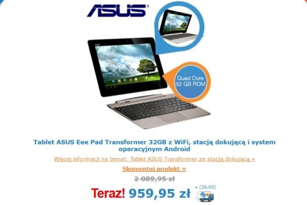 Promocja: recertyfikowany Asus Eee Pad Transformer TF201 za 990 złotych