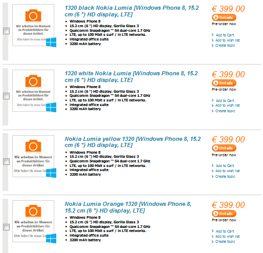 6-calowa Nokia Lumia 1320 wyceniona na 399 euro 51