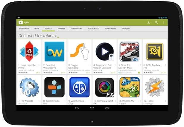 Aplikacje na tablety będą bardziej wyeksponowane w Google Play