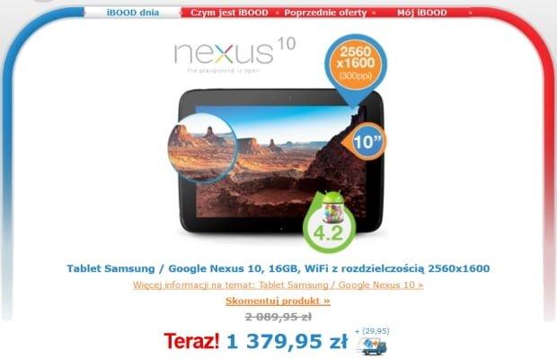 Promocja: Nexus 10 na Ibood za 1410 złotych