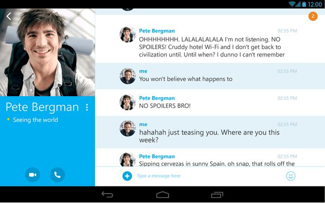 Tabletowo.pl Skype dla Androida zaktualizowany o nowy interfejs dla tabletów i wideorozmowy w wyższej rozdzielczości Aplikacje