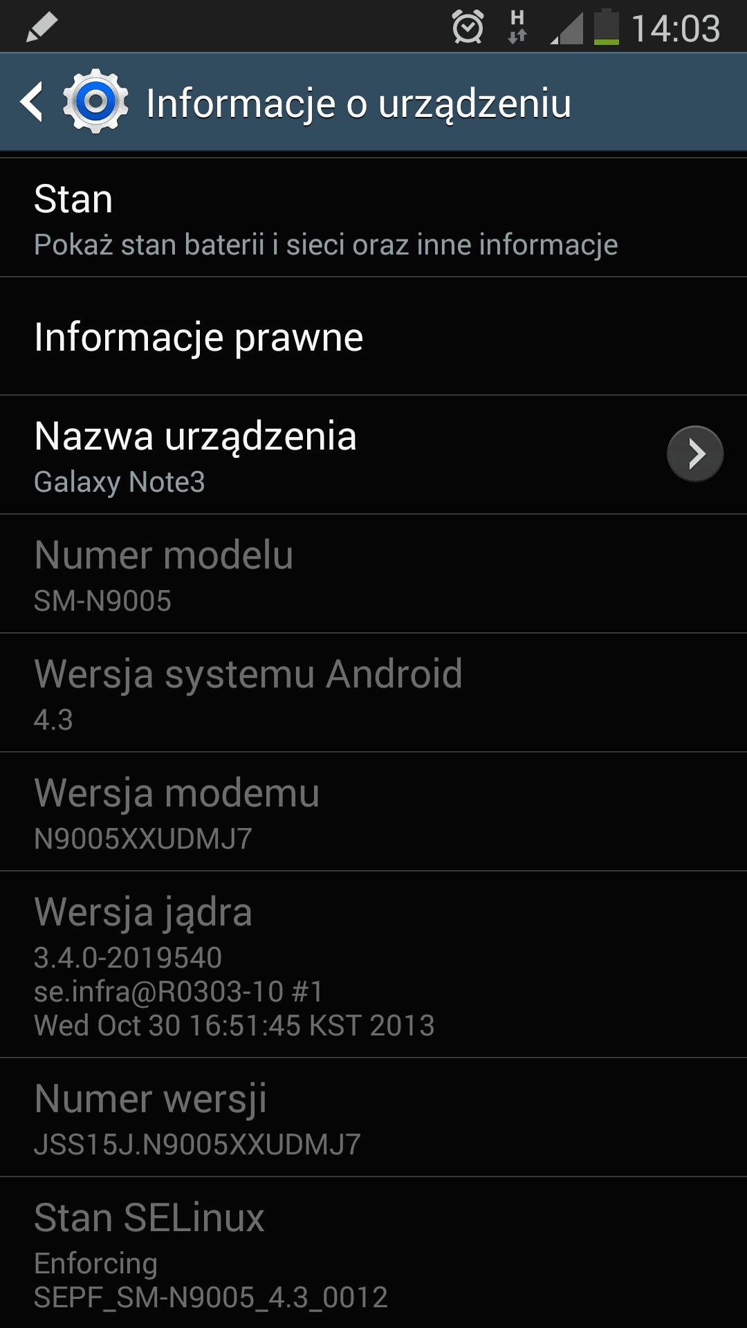 Samsung Galaxy Note 3 z aktualizacją oprogramowania (N9005XXUDMJ7)