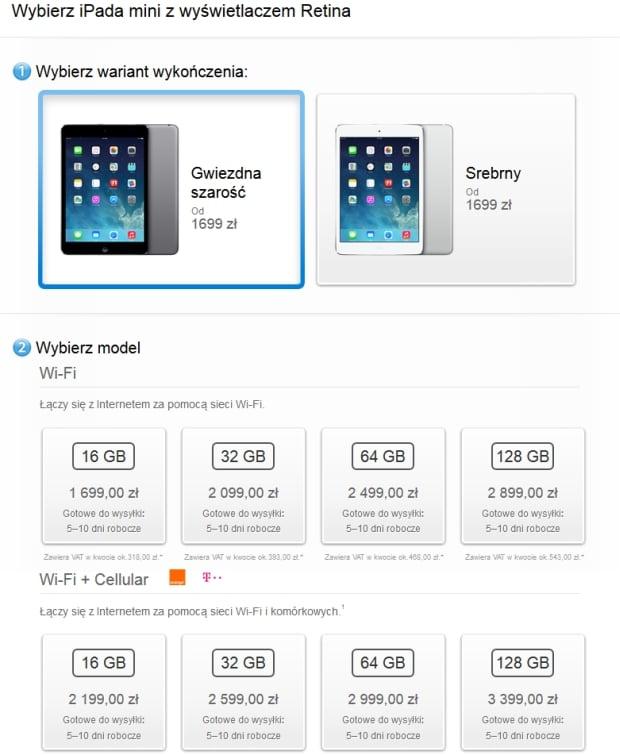 iPad mini z ekranem Retina dostępny w Apple Online Store