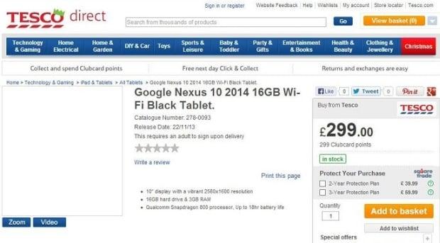 Brytyjskie Tesco a Nexus 10 2014