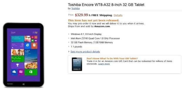 Tabletowo.pl Toshiba Encore w przedsprzedaży za 330 dolarów (Windows 8.1 i Intel Bay Trail) Nowości Toshiba