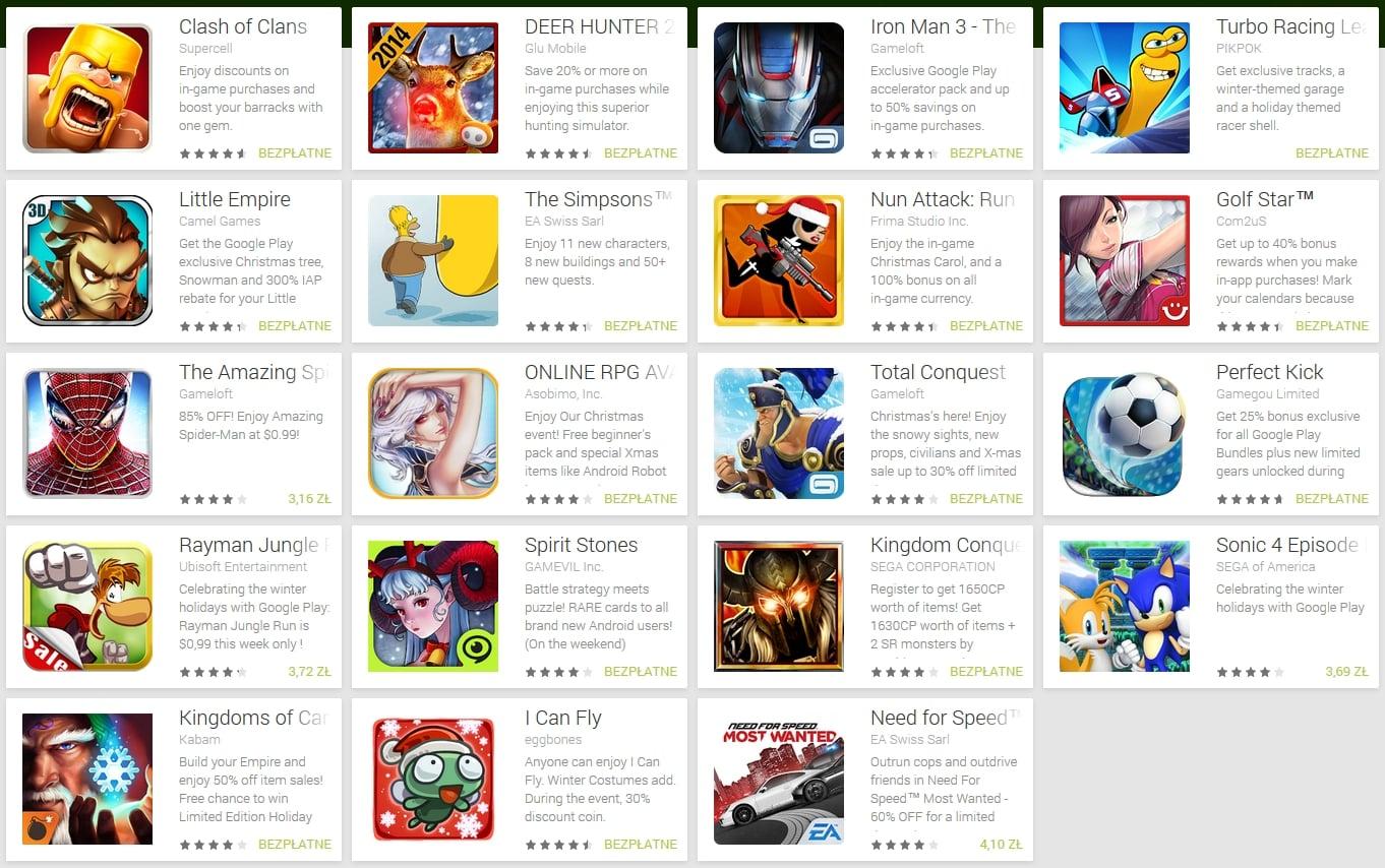 Świąteczne promocje gier i aplikacji w Google Play - trochę tego jest!