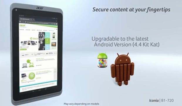 Tabletowo.pl Android 4.4 KitKat dla tabletu Acer Iconia B1-720 potwierdzony na wideo Acer Aktualizacje Nowości