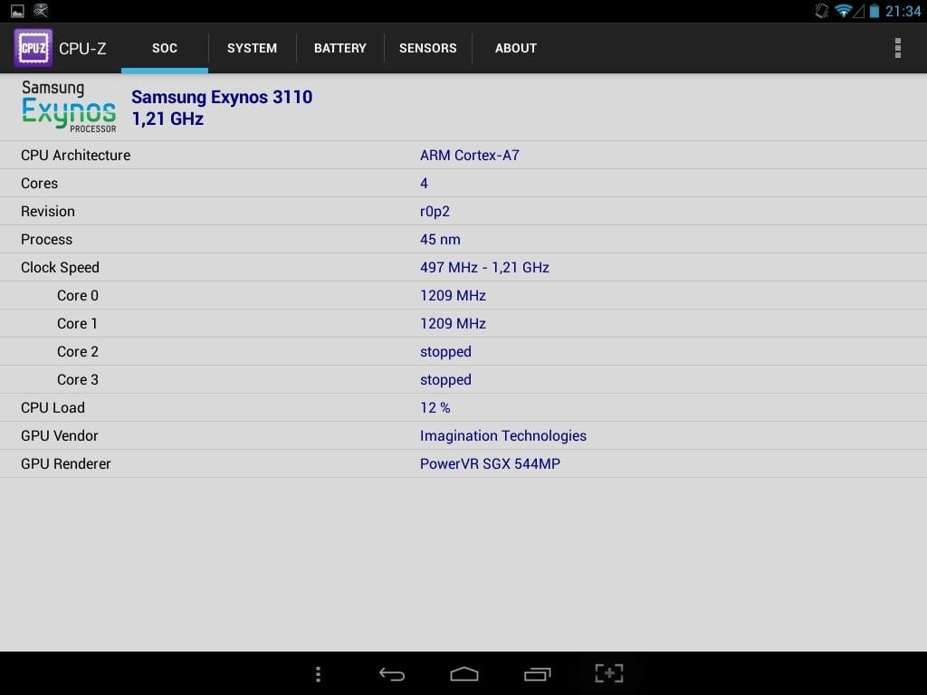 Co ciekawe, program CPU-Z pokazuje, że jednostką centralną Aries 785 jest Samsung Exynos 3110 1,2GHz, a nie MediaTek MT8389.