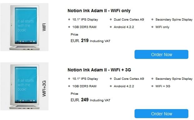 Tabletowo.pl Notion Ink Adam II teraz również z wysyłką do Europy. 249 euro za wersję z 3G Nowości