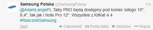 Nowe tablety Samsunga z serii Galaxy Tab Pro i Galaxy Tab Note w Polsce pod koniec lutego