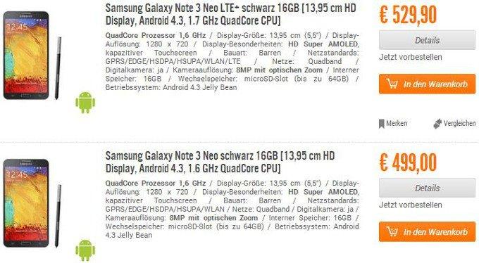 Tabletowo.pl Samsung Galaxy Note 3 Neo w przedsprzedaży w niemieckim sklepie Nowości Samsung