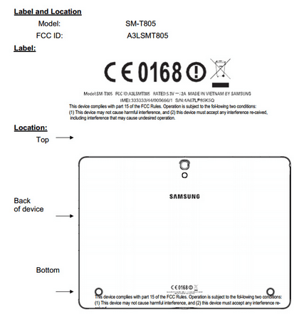 Tabletowo.pl Samsung SM-T805 obecny w FCC Nowości Plotki / Przecieki Samsung