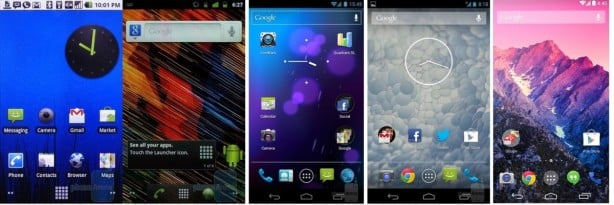 The-evolution-of-Android-came-along-from-Eclair-2.1-on-Nexus-One-to-4.4-KitKat