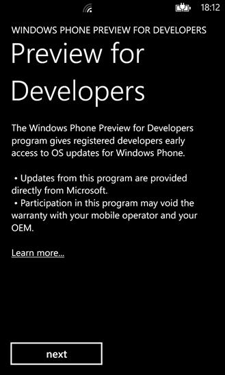 windows prewiev for developers
