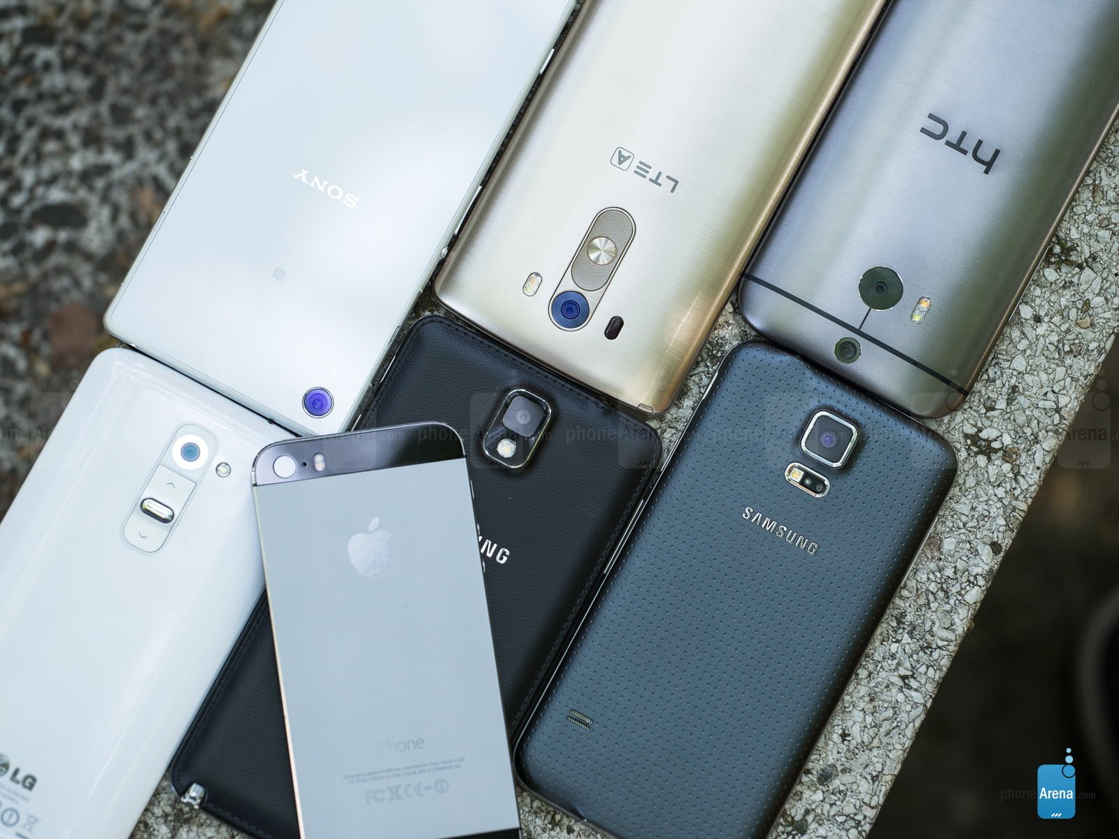 LG G3, Samsung Galaxy S5, Galaxy Note 3, iPhone 5s, LG G2, Sony Xperia Z2 oraz HTC One (M8) 3