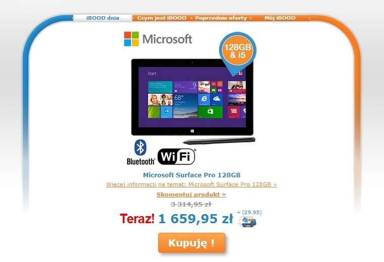 Tabletowo.pl Promocja: Microsoft Surface Pro 128GB za 1690 złotych Microsoft Promocje