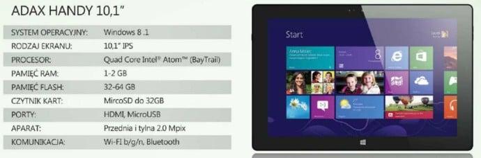"""Tabletowo.pl Adax też szykuje swoje tablety z Windowsem: Handy 10.1"""" i Handy 8"""" Nowości Tablety"""