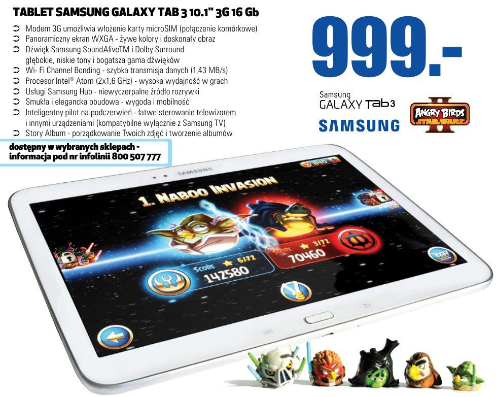 Tabletowo.pl Promocja: Samsung Galaxy Tab 3 10.1 z 16GB i 3G za 999 złotych w Lidlu (od 28.07.) Nowości Promocje Samsung Tablety