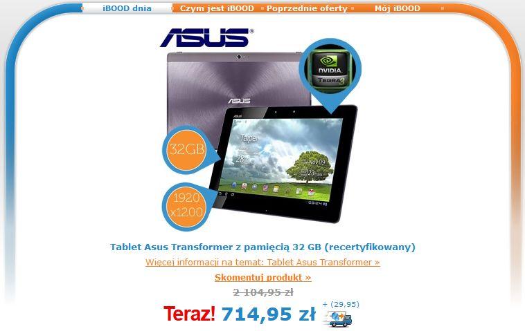 Tabletowo.pl Promocja: recertyfikowany Asus Transformer Pad Infinity TF700T za 745 złotych na iBood Asus Promocje Tablety