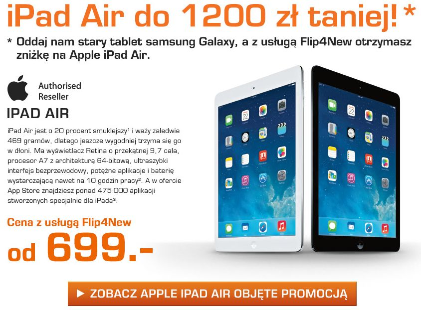 Tabletowo.pl Promocja Saturna: przynieś stary tablet Samsunga, kup iPada Air do 1200 złotych taniej Android Apple iOS Promocje Samsung Tablety