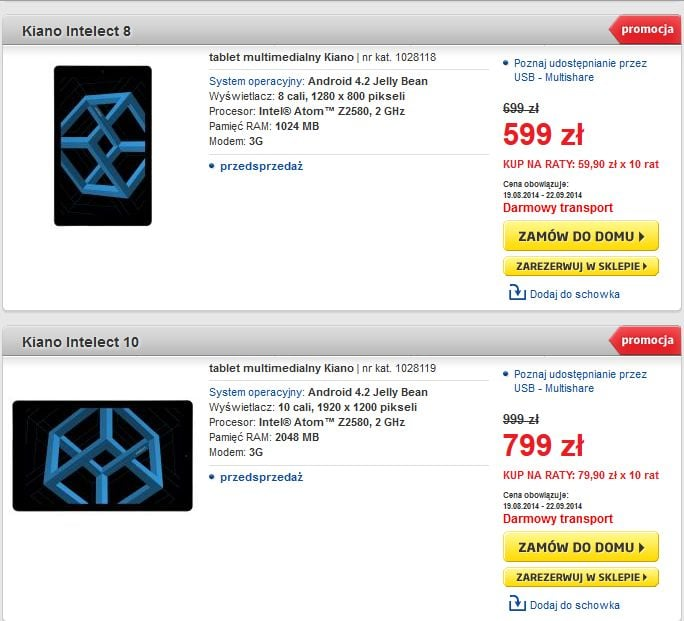 Dwie nowości Kiano z 3G: Intelect 8 (1280×800) i Intelect 10 (1920×1200) w dobrej cenie (aktualizacja)