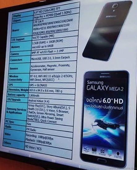 Tabletowo.pl Czy taka będzie specyfikacja Samsunga Galaxy Mega 2? Android Plotki / Przecieki Samsung Smartfony