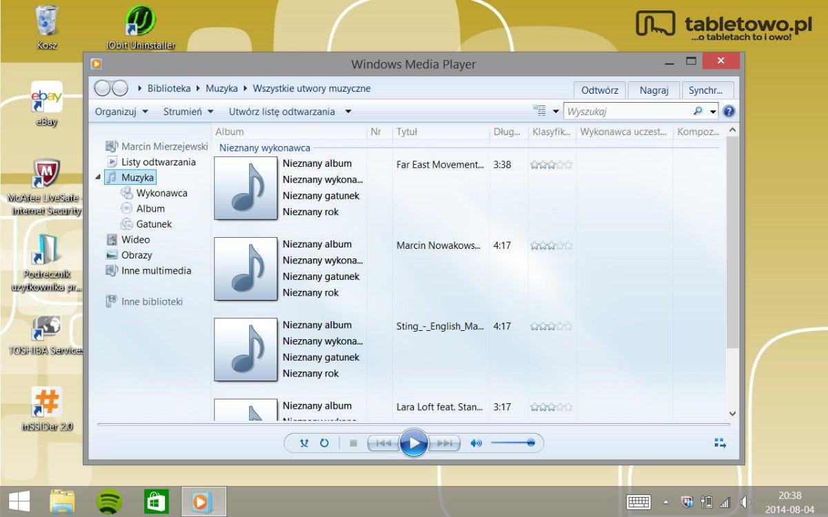 Toshiba Encore - WMP - muzyka