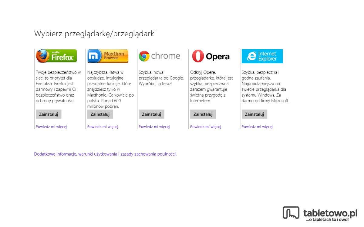 Toshiba Encore - Wybór przeglądarki