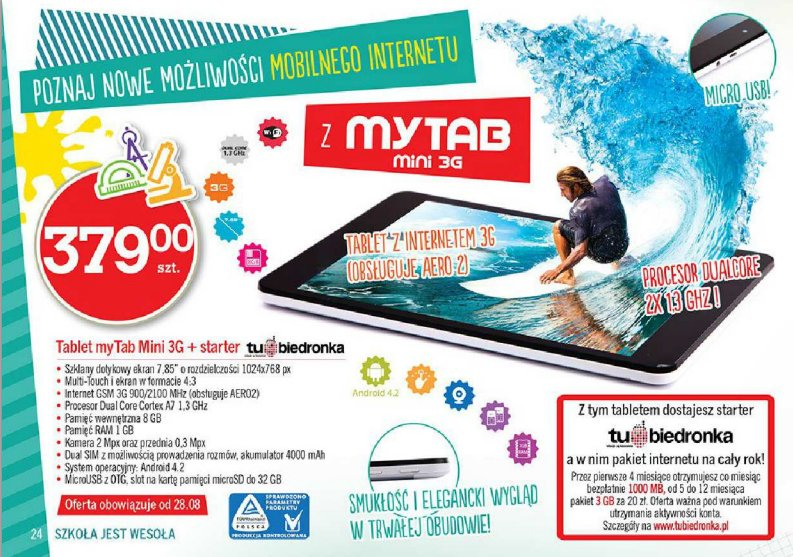 Promocja: myTab Mini 3G za 379 złotych w Biedronce 17