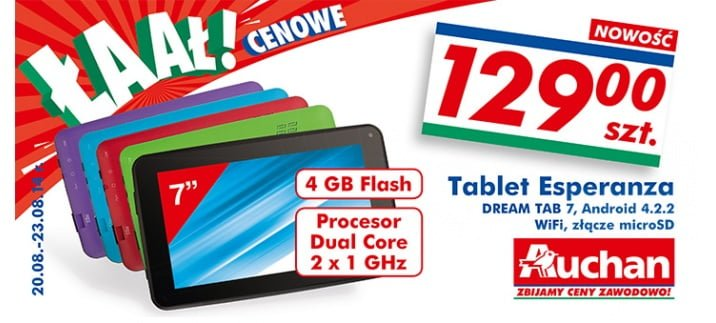 Tabletowo.pl Promocja: Esperanza Dream Tab 7 za 130 złotych w Auchan Android Nowości Promocje Tablety