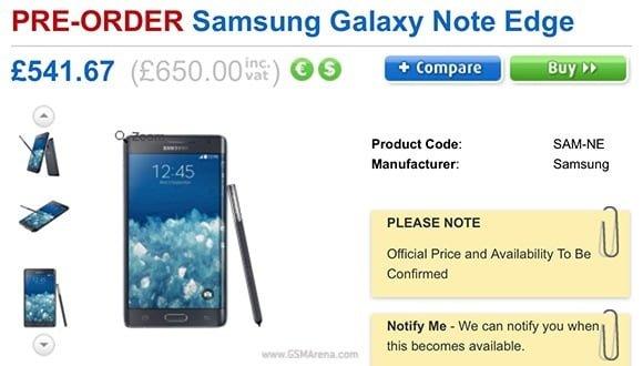 Tabletowo.pl Samsung Galaxy Note Edge wyceniony w Wielkiej Brytanii Nowości Samsung Smartfony