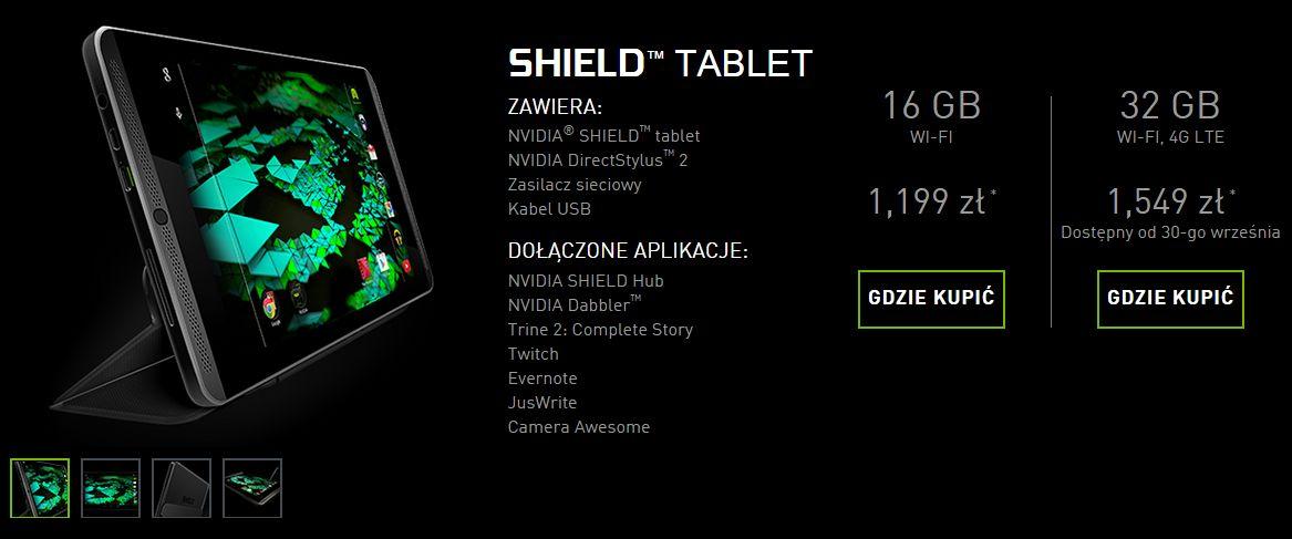 Tabletowo.pl Bardziej wypasiona wersja Nvidia Shield Tablet (32GB LTE) w sklepach od 30 września Nowości