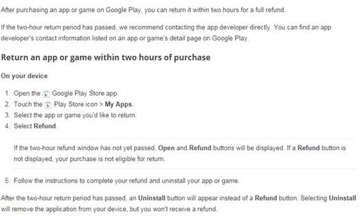 refund app in google play