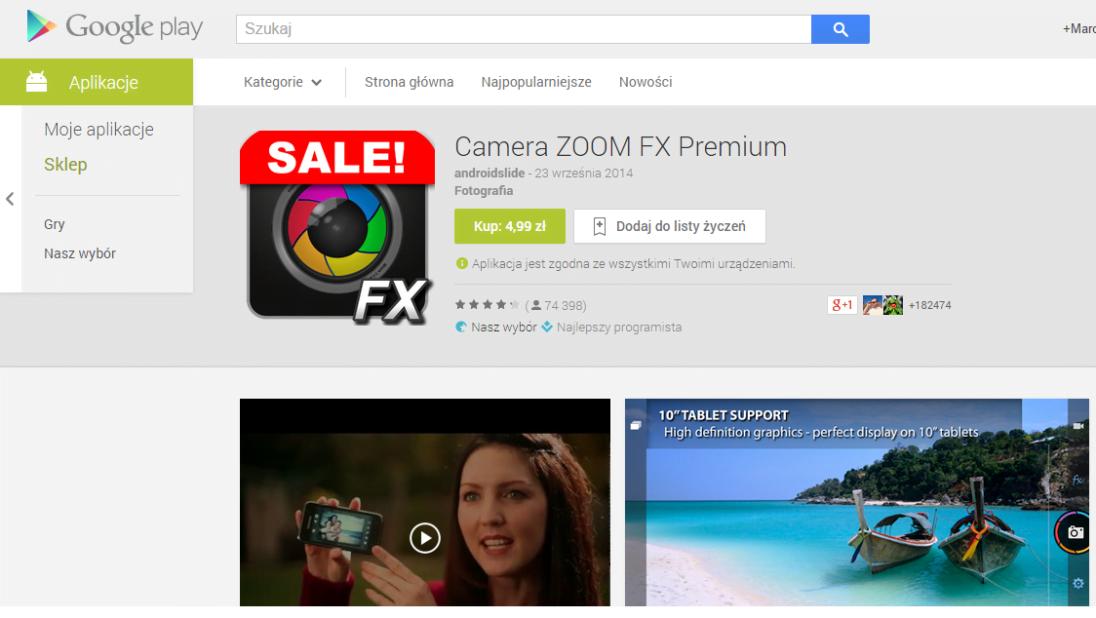 Tabletowo.pl Aplikacja Camera ZOOM FX Premium 33% taniej w Google Play Android Aplikacje Promocje