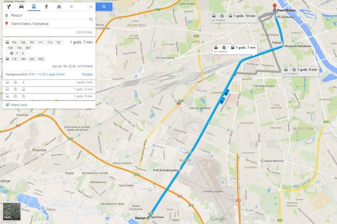Tabletowo.pl Google Transit w Warszawie - wreszcie na mapach Google wyznaczymy trasę transportem publicznym Aplikacje Google