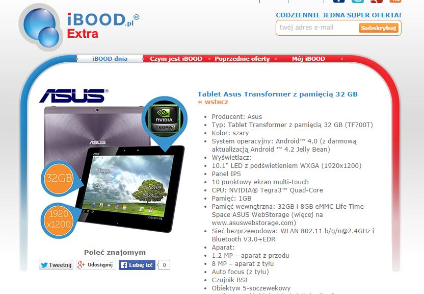Promocja: Nowy tablet Asus Transformer Pad Infinity TF700T 32GB za 840 złotych na iBood 16