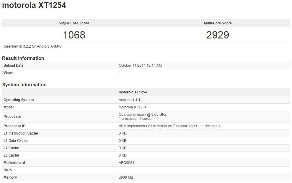 Tabletowo.pl Motorola Droid Turbo przetestowana w GeekBench 3 Android Motorola Smartfony