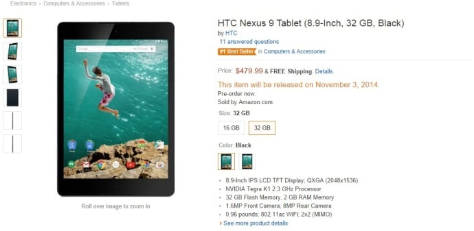 nexus 9 amazon